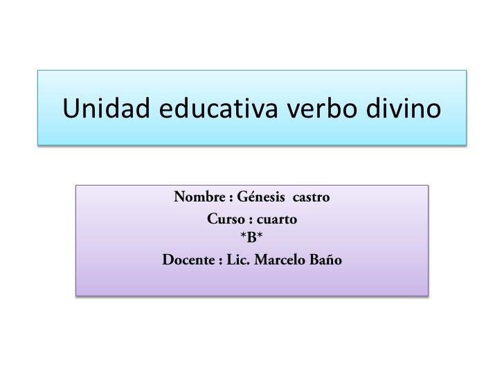 Unidad educativa verbo divino