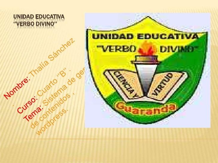 UNIDAD EDUCATIVA''VERBO DIVINO''