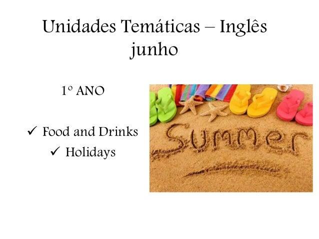 Unidades Temáticas – Inglês junho 1º ANO  Food and Drinks  Holidays