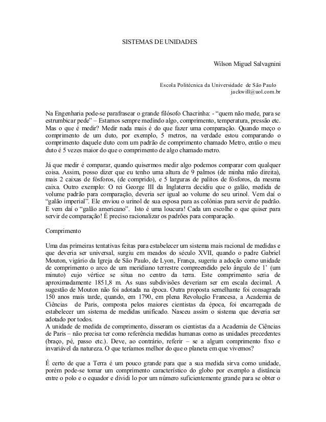 SISTEMAS DE UNIDADES                                                                 Wilson Miguel Salvagnini             ...