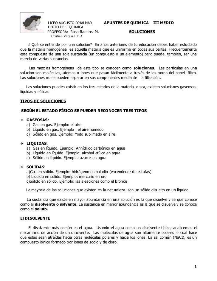 LICEO AUGUSTO D'HALMAR           APUNTES DE QUIMICA           III MEDIO                DEPTO DE : QUIMICA                P...