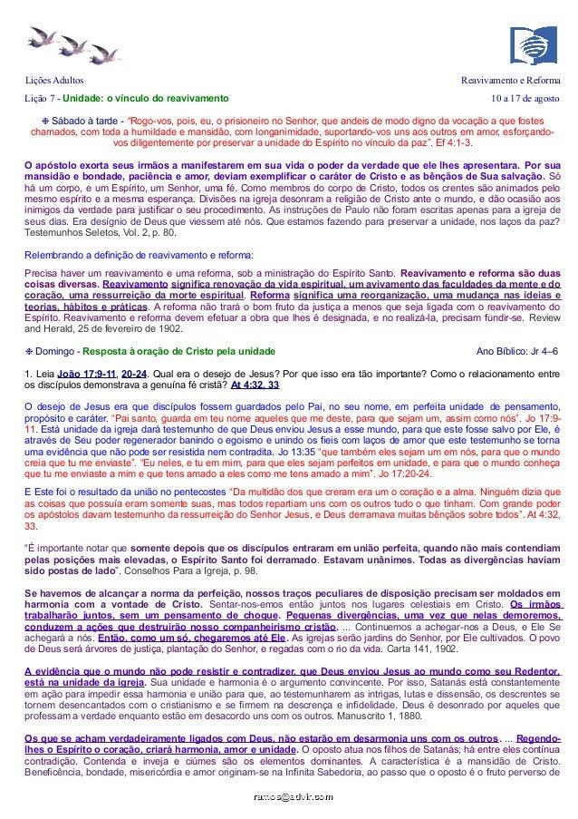 """Lições Adultos Reavivamento e Reforma Lição 7 - Unidade: o vínculo do reavivamento 10 a 17 de agosto ❉ Sábado à tarde - """"R..."""