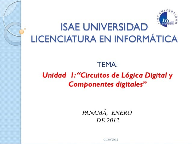 Unidad i. circuitos de logica digital