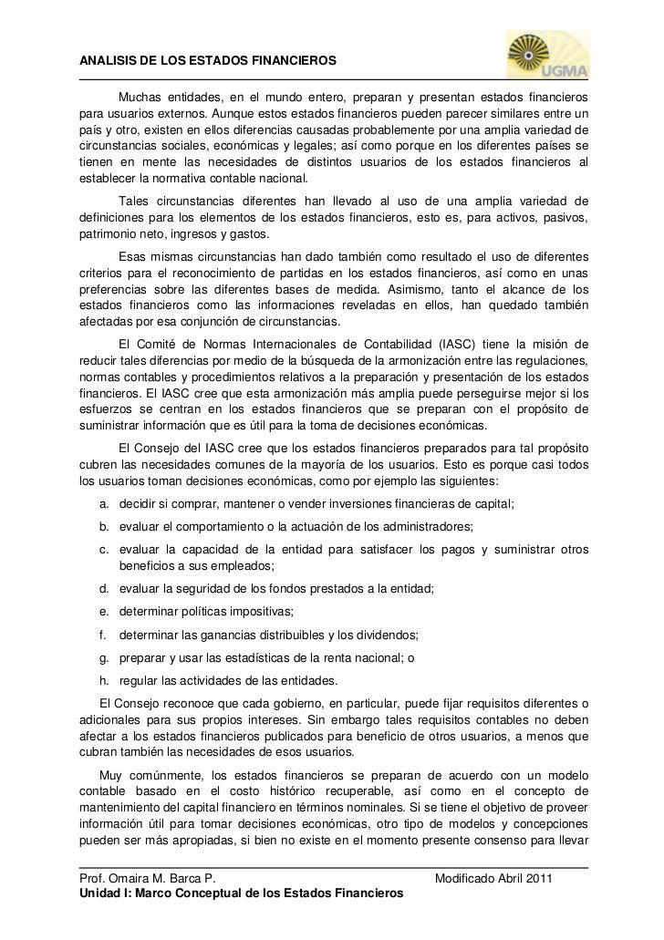 Unidad I  Marco Conceptual de Preparacion  y Presentacion de los Estados Financieros