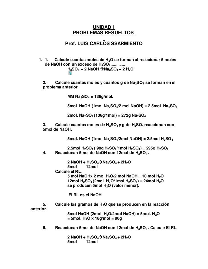 UNIDAD I                    PROBLEMAS RESUELTOS                 Prof. LUIS CARLOS SSARMIENTO    1. 1.  Calcule cuantas mol...