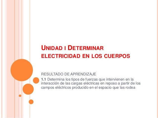 UNIDAD I DETERMINAR ELECTRICIDAD EN LOS CUERPOS  RESULTADO DE APRENDIZAJE 1.1 Determina los tipos de fuerzas que intervien...