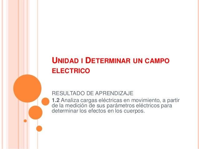 UNIDAD I DETERMINAR UN CAMPO ELECTRICO RESULTADO DE APRENDIZAJE 1.2 Analiza cargas eléctricas en movimiento, a partir de l...