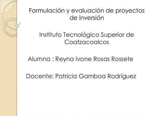 Formulación y evaluación de proyectos             de inversión    Instituto Tecnológico Superior de              Coatzacoa...