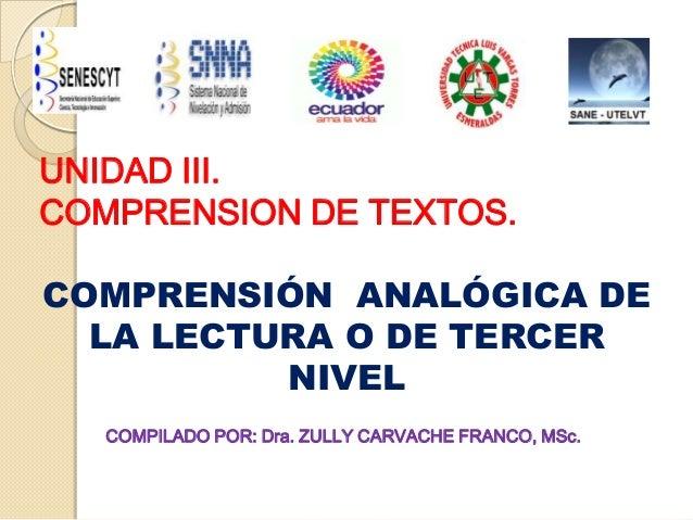 UNIDAD III. COMPRENSION DE TEXTOS. COMPRENSIÓN ANALÓGICA DE LA LECTURA O DE TERCER NIVEL COMPILADO POR: Dra. ZULLY CARVACH...