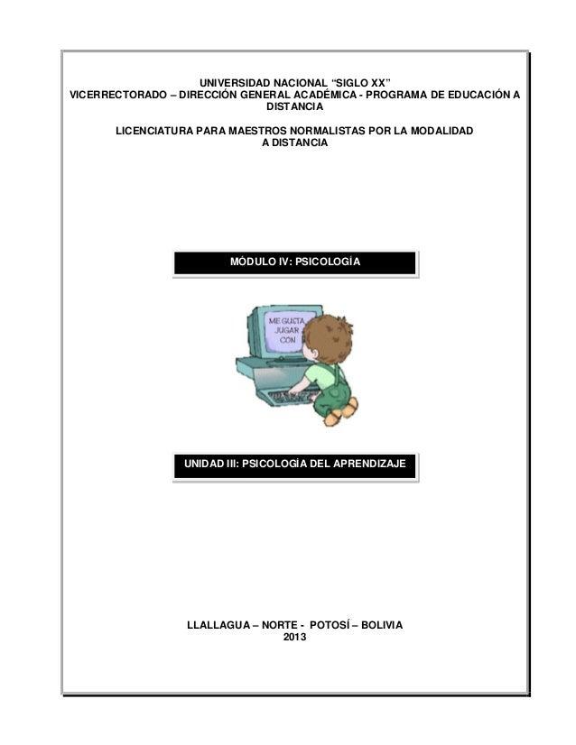 """UNIVERSIDAD NACIONAL """"SIGLO XX""""VICERRECTORADO – DIRECCIÓN GENERAL ACADÉMICA - PROGRAMA DE EDUCACIÓN ADISTANCIALICENCIATURA..."""
