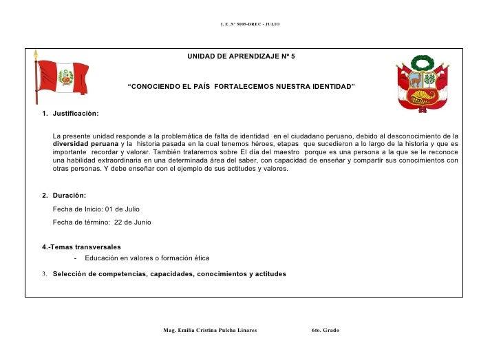 I. E .Nº 5005-DREC - JULIO                                             UNIDAD DE APRENDIZAJE Nº 5                         ...