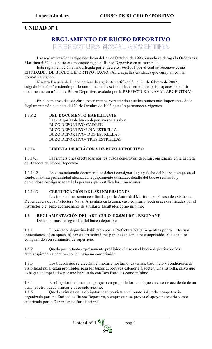Imperio Juniors                     CURSO DE BUCEO DEPORTIVO  UNIDAD Nº 1                  REGLAMENTO DE BUCEO DEPORTIVO  ...