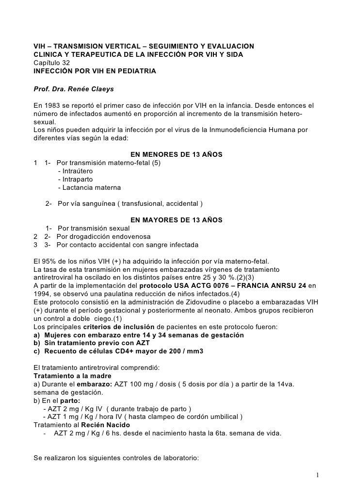 VIH – TRANSMISION VERTICAL – SEGUIMIENTO Y EVALUACION CLINICA Y TERAPEUTICA DE LA INFECCIÓN POR VIH Y SIDA Capítulo 32 INF...