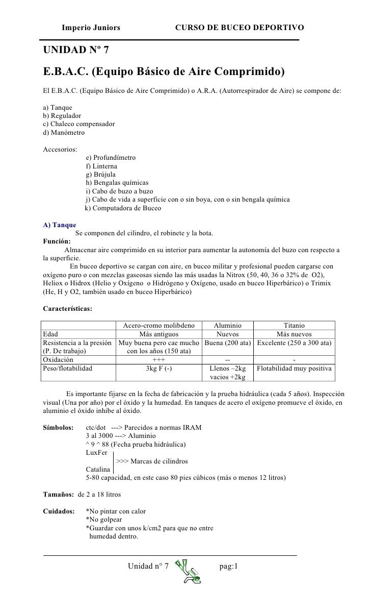 Imperio Juniors                         CURSO DE BUCEO DEPORTIVO  UNIDAD Nº 7  E.B.A.C. (Equipo Básico de Aire Comprimido)...