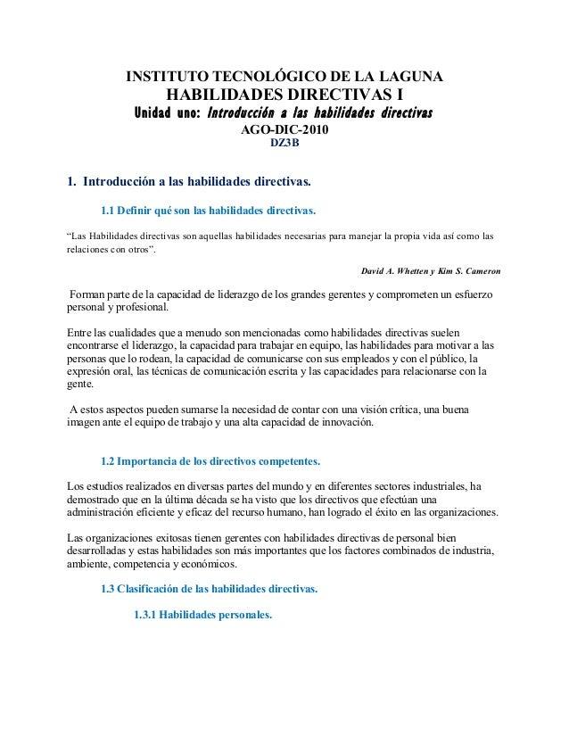 INSTITUTO TECNOLÓGICO DE LA LAGUNA HABILIDADES DIRECTIVAS I Unidad uno: Introducción a las habilidades directivas AGO-DIC-...