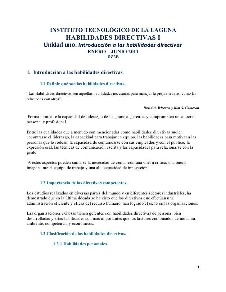 INSTITUTO TECNOLÓGICO DE LA LAGUNA                        HABILIDADES DIRECTIVAS I          Unidad uno: Introducción a las...