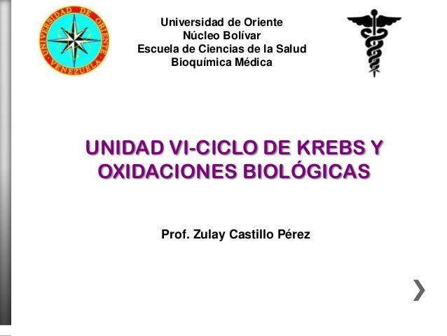 Universidad de Oriente            Núcleo Bolívar    Escuela de Ciencias de la Salud         Bioquímica MédicaUNIDAD VI-CIC...