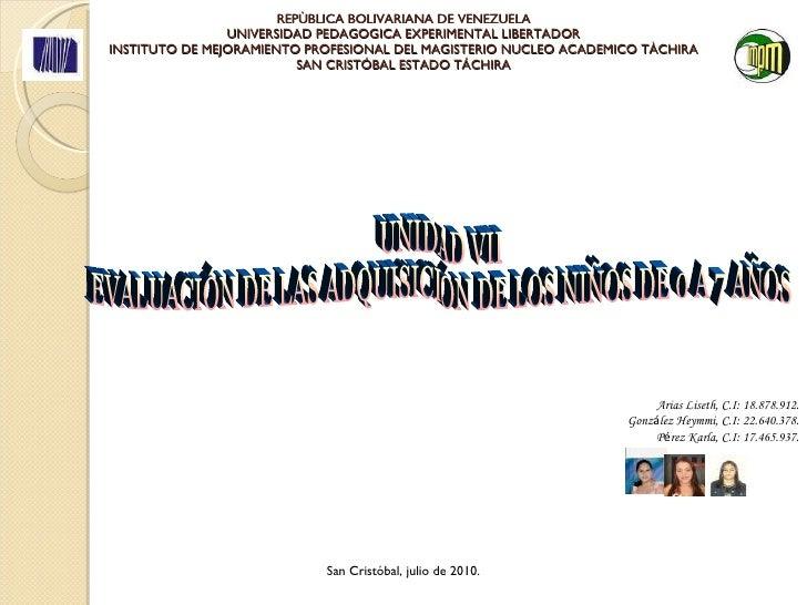 Unidad vii. evaluación de las adquisiciones de los niños de 0 a 7 años