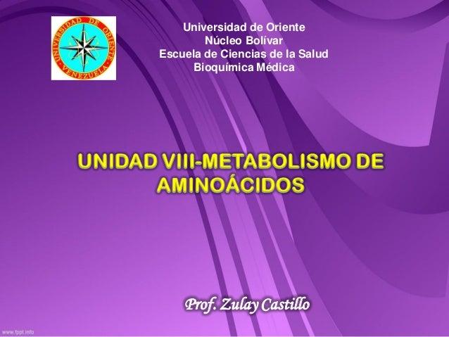 Universidad de Oriente        Núcleo BolívarEscuela de Ciencias de la Salud     Bioquímica Médica    Prof. Zulay Castillo