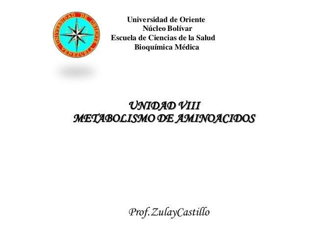 Universidad de Oriente              Núcleo Bolívar     Escuela de Ciencias de la Salud           Bioquímica Médica       U...