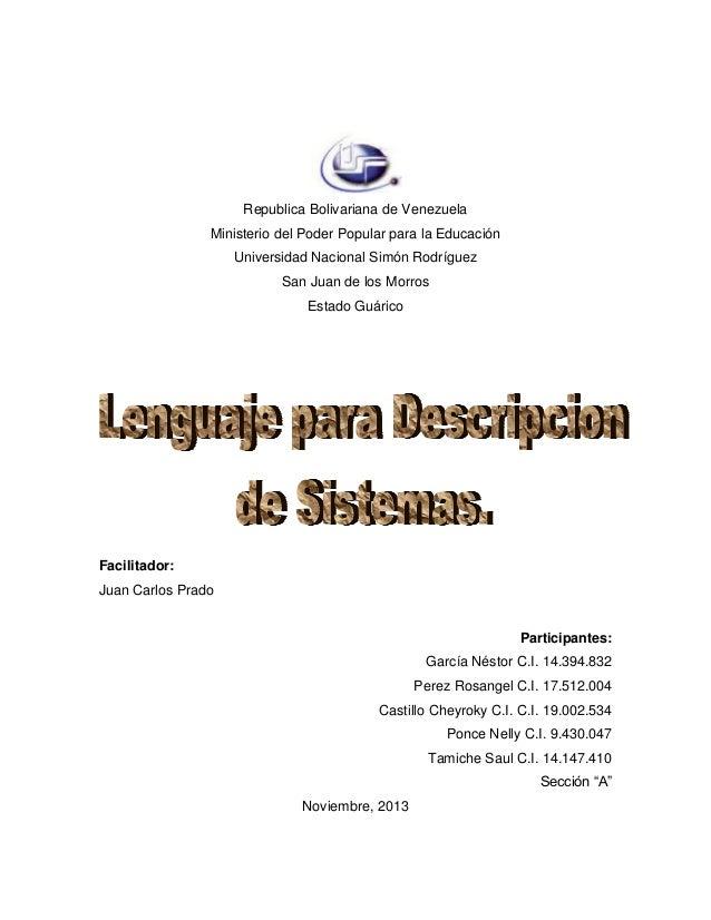 Republica Bolivariana de Venezuela Ministerio del Poder Popular para la Educación Universidad Nacional Simón Rodríguez San...