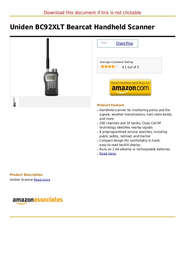 Download this document if link is not clickableUniden BC92XLT Bearcat Handheld Scanner                                    ...
