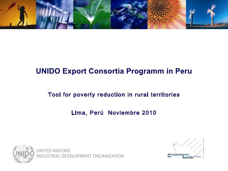 UNIDO Export Consortia Programm in Peru Tool for poverty reduction in rural territories Lima, Perú  Noviembre 2010