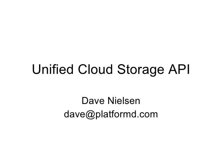 Unified Cloud Storage Api