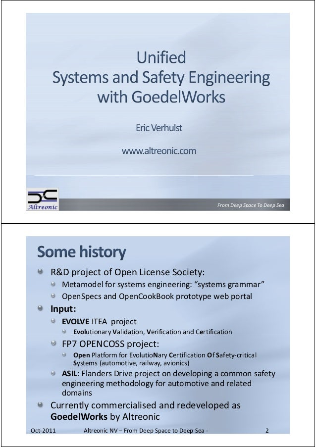 """From Deep Space To Deep Sea      R&D project of Open License Society:           Metamodel for systems engineering: """"system..."""