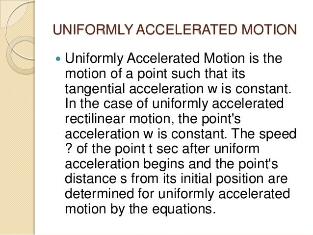 uniformly accelerated motion definition pdf