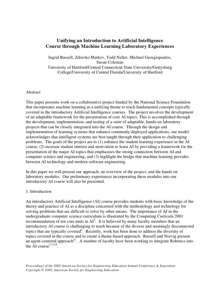 Unifying an Introduction to Artificial Intelligence Course ...