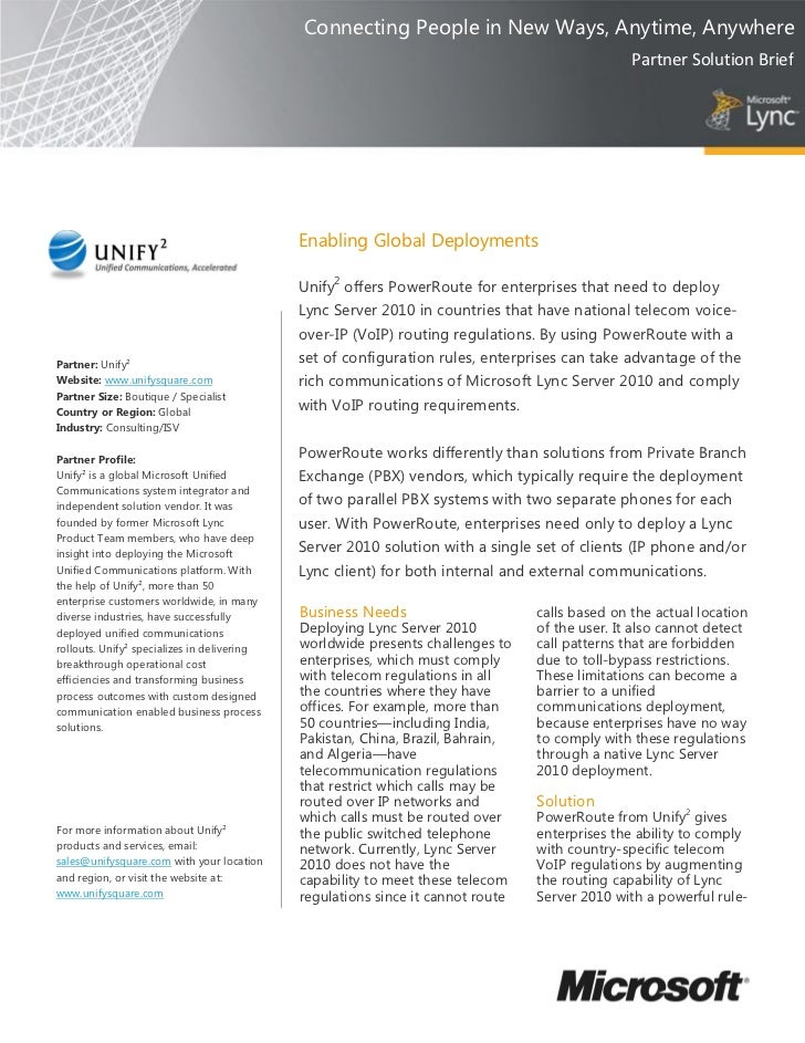 Unify² Power Route For Microsoft Lync 2010 Product Overview One Pager