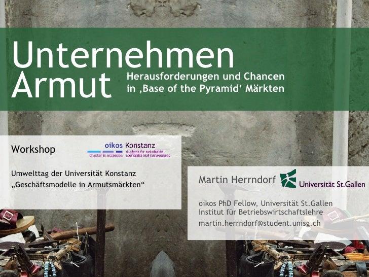 Unternehmen Armut - Workshop an der Uni  Konstanz