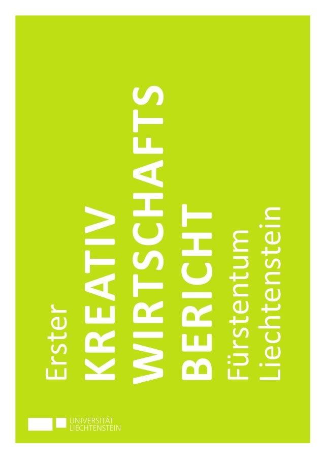 Erster  KREATIV  WIRTSCHAFTS  BERICHT  Fürstentum  Liechtenstein