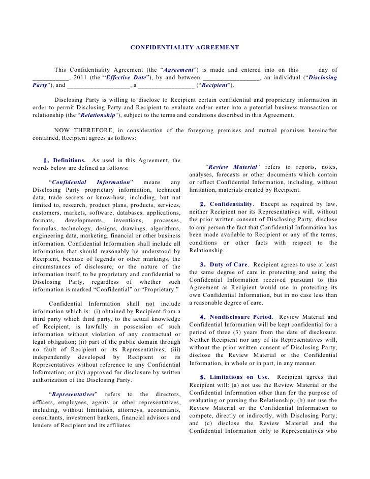 Unilateral NDA Individual Disclosing To Corporation