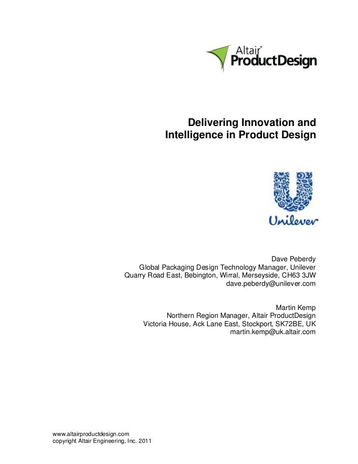 Unilever - Delivering Innovation & Intelligence in Product Design