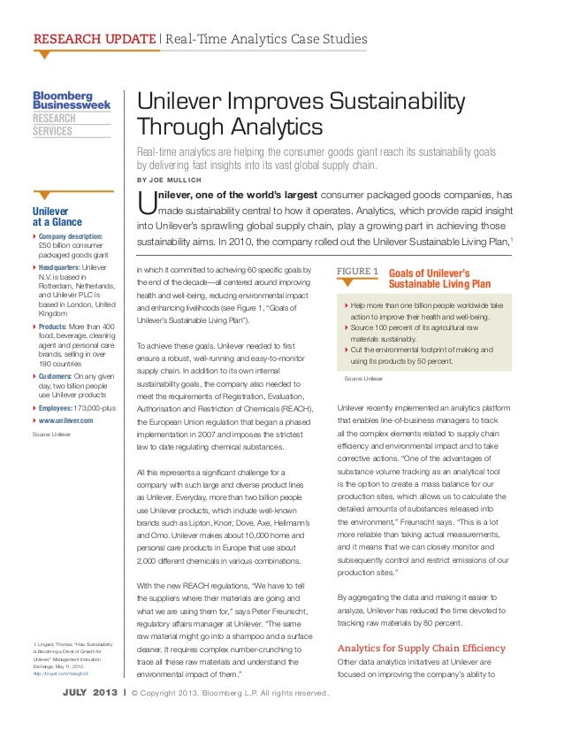 RESEARCH UPDATE | Real-Time Analytics Case Studies  Unilever Improves Sustainability Through Analytics Real-time analytics...