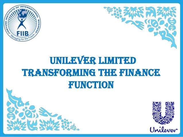 Unilever LimitedTransforming the financefunction