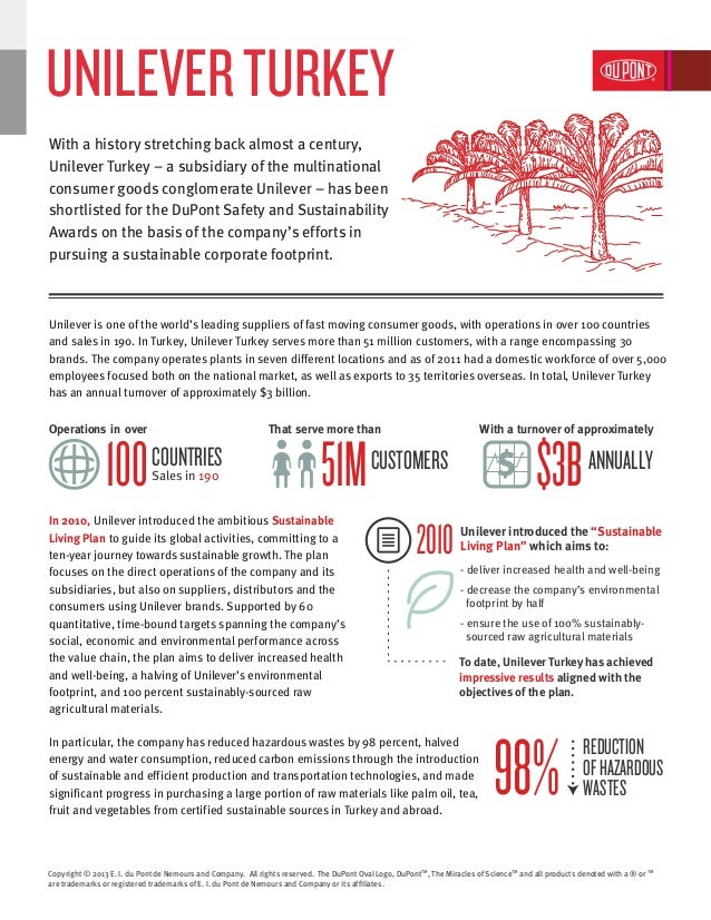 Unilever Turkey | DuPont Safety and Sustainability Awards 2013