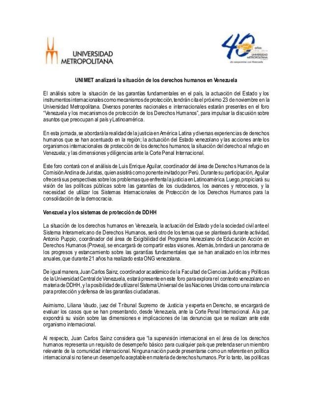 UNIMET analizará la situación de los derechos humanos en Venezuela El análisis sobre la situación de las garantías fundame...