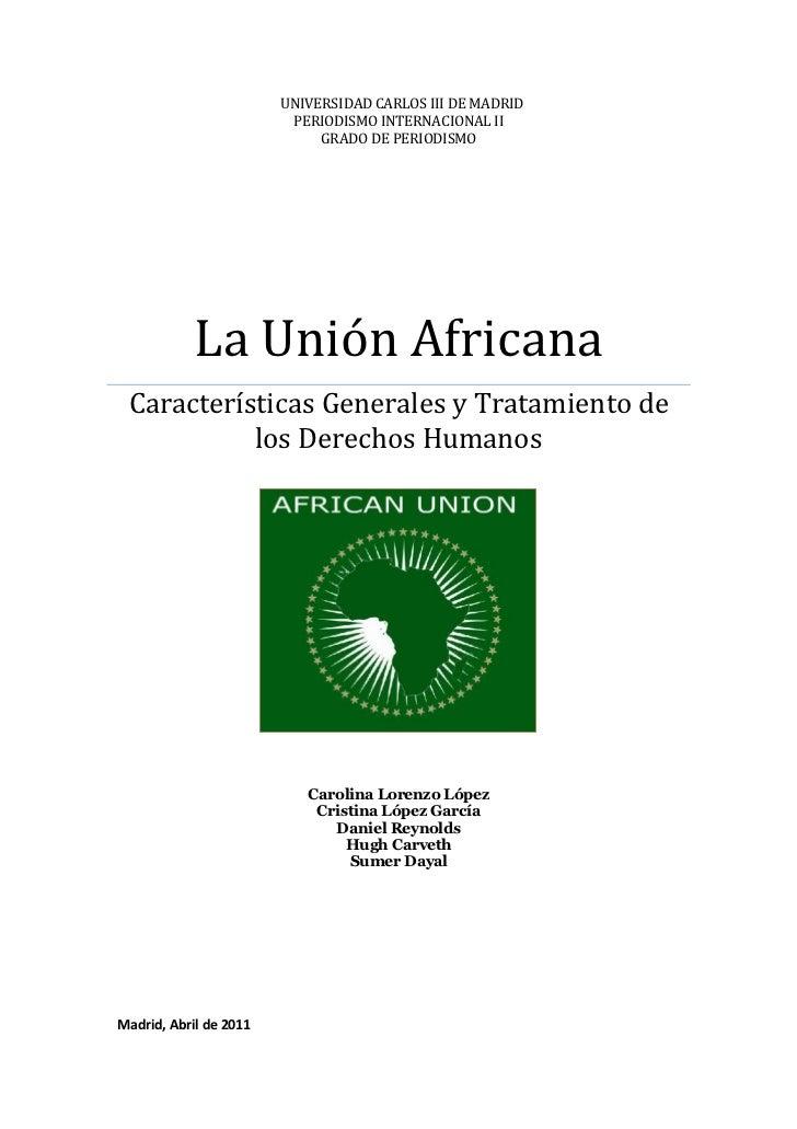 Unión Africana - Características Generales y Tratamiento de los Derechos Humanos