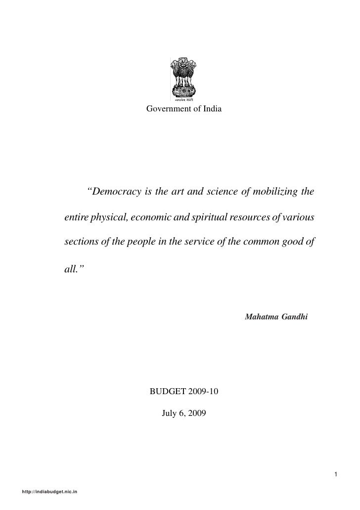 """Government of India                                 """"Democracy is the art and science of mobilizing the                   ..."""
