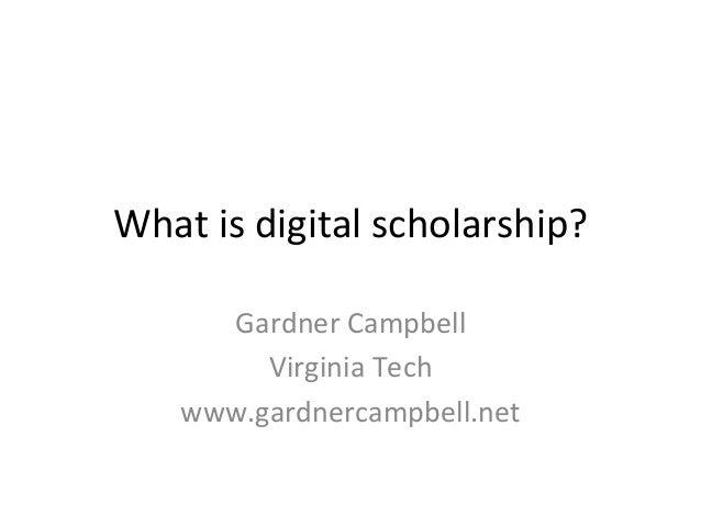What is Digital Scholarship?