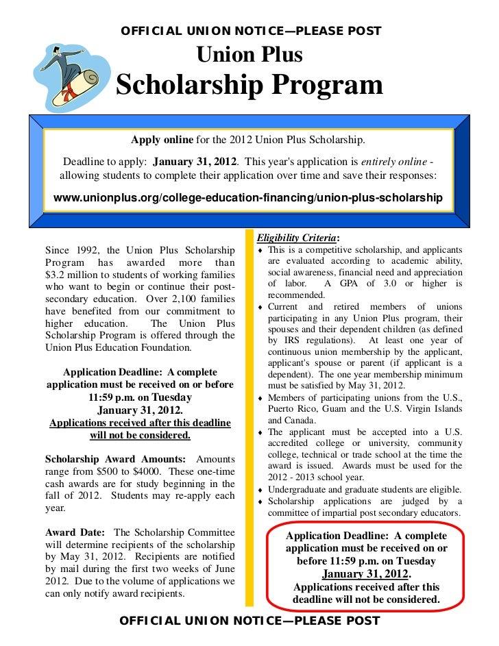 OFFICIAL UNION NOTICE—PLEASE POST                                  Union Plus                Scholarship Program          ...