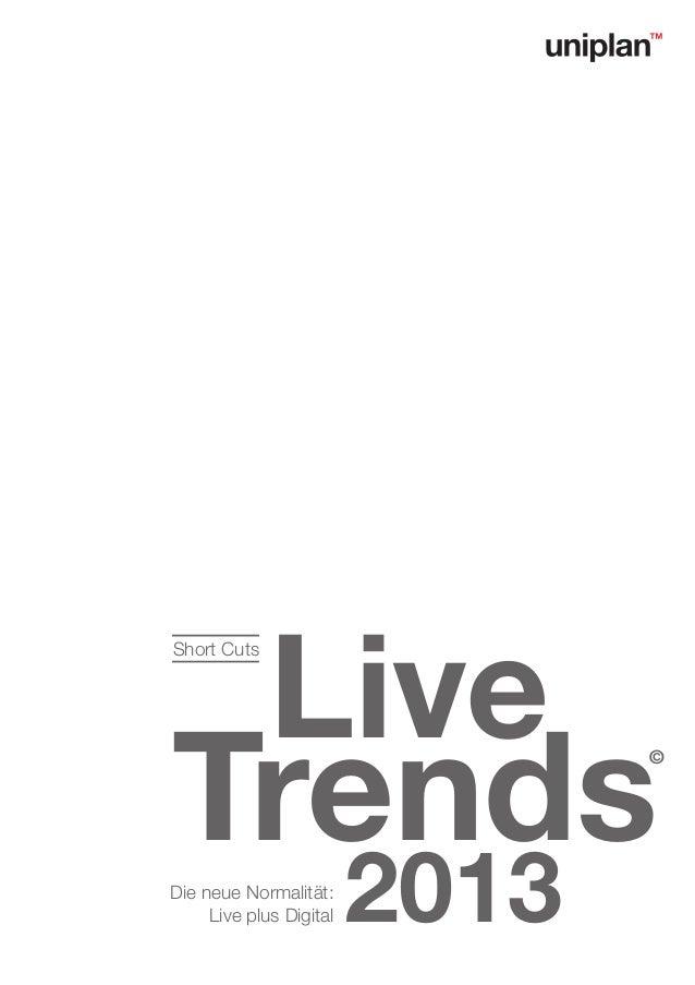 LiveShort CutsTrends                          ©Die neue Normalität:     Live plus Digital   2013