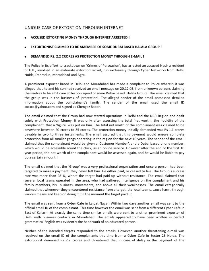 "HYPERLINK "" http://www.neerajaarora.com/unique-case-of-extortion-through-internet/""  UNIQUE CASE OF EXTORTION THROUGH INT..."
