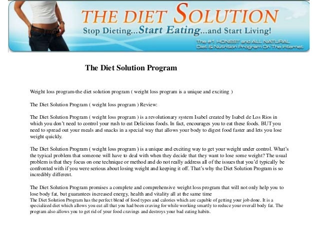 The Diet Solution Program Weight loss program-the diet solution program ( weight loss program is a unique and exciting ) T...