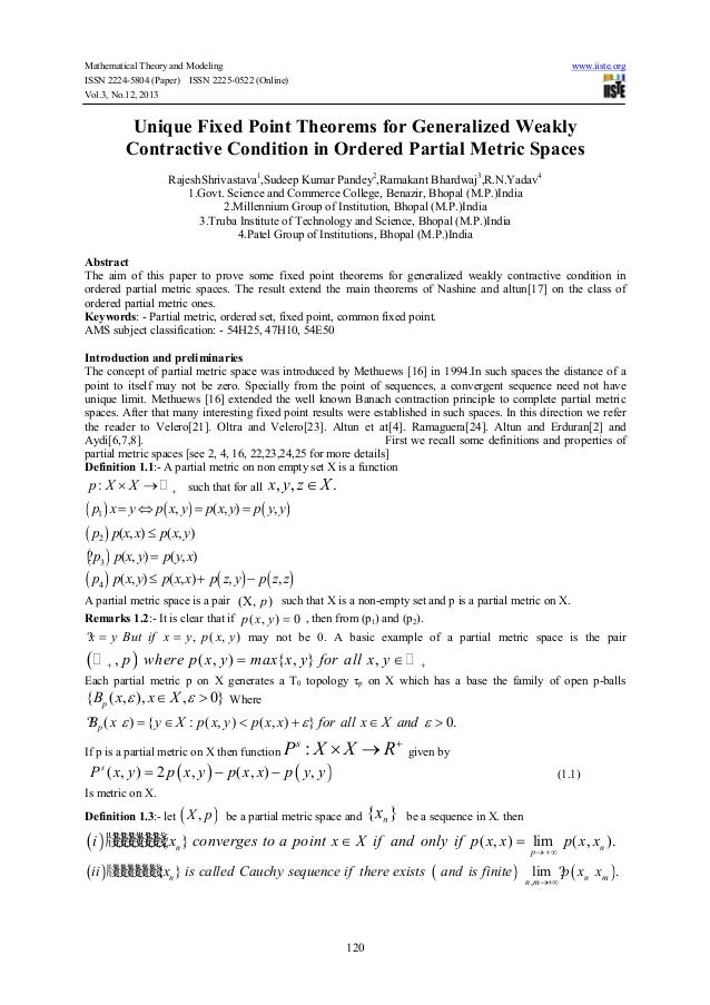 Mathematical Theory and Modeling ISSN 2224-5804 (Paper) ISSN 2225-0522 (Online) Vol.3, No.12, 2013  www.iiste.org  Unique ...