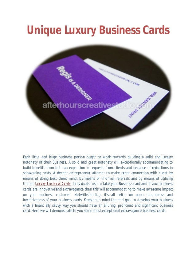Advance unique Luxury Business Cards