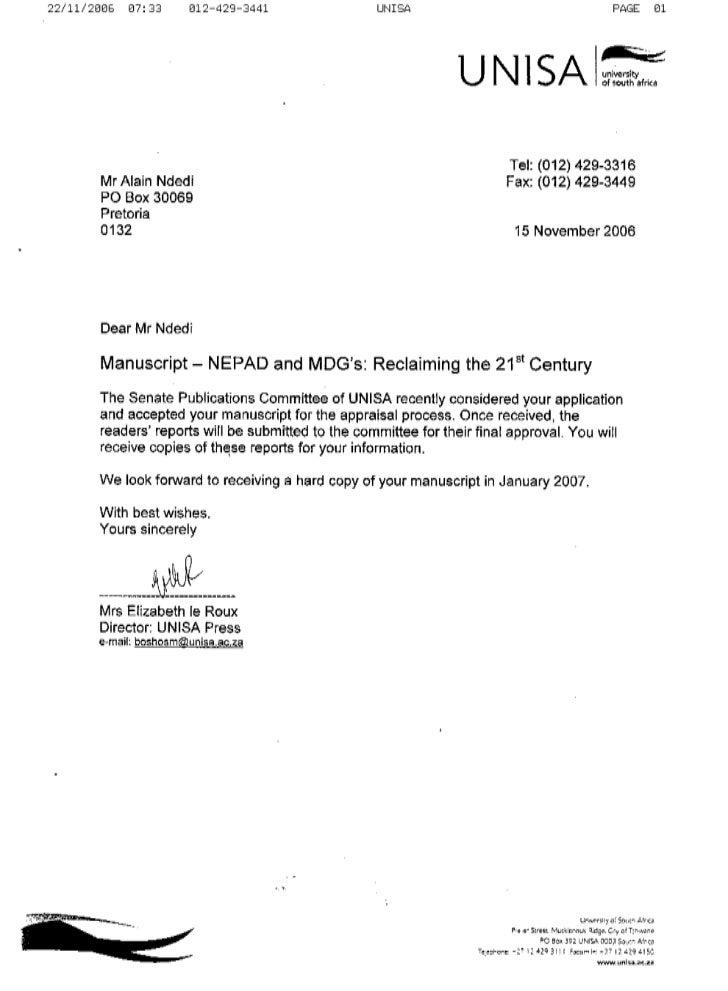 Unisa Press confirmation Letter